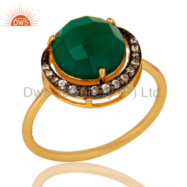 18K Gold Plated Sterling Silver Faceted Green Onyx And CZ Stack Ring