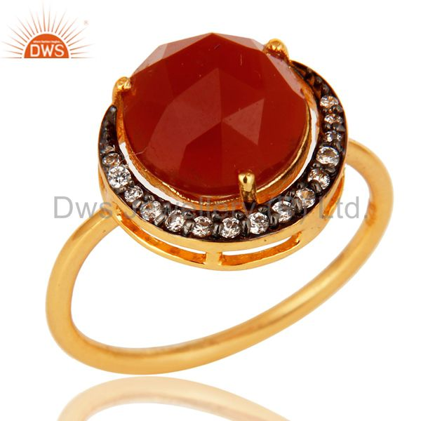 Shiny 14K Yellow Gold Plated Sterling Silver Red Onyx Stack Ring With CZ