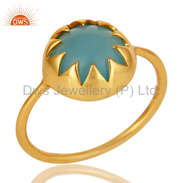Aqua Chalcedony Gemstone Sterling Silver Stacking Ring With Gold plated