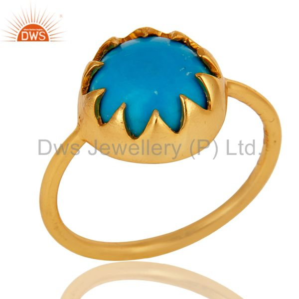Handmade Turquoise Gemstone Ring Made In 18K Gold Over Sterling Silver