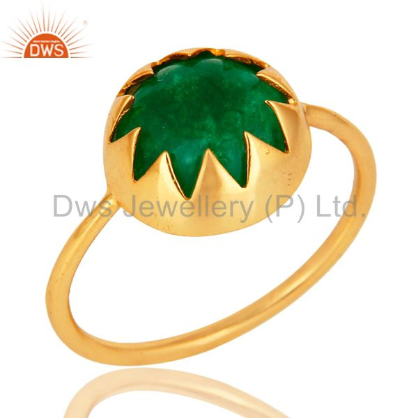 14K Yellow Gold Plated Sterling Silver Green Aventurine Gemstone Stackable Ring