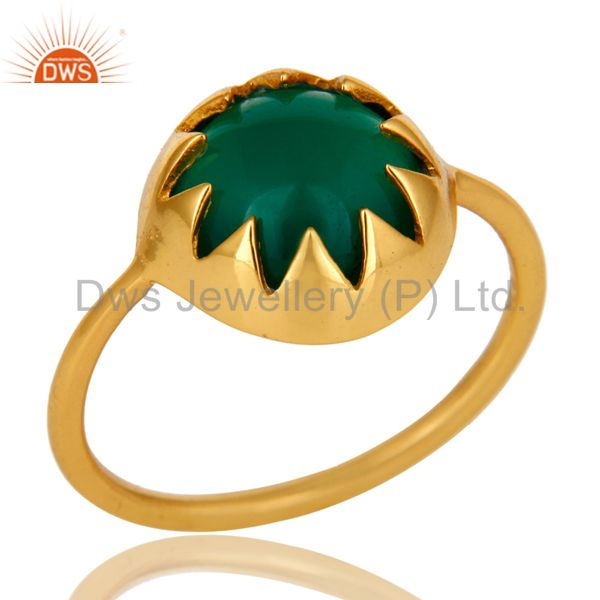 14K Yellow Gold Plated Sterling Silver Green Onyx Designer Stackable Ring