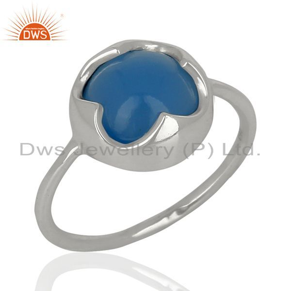 Blue Chalcedony Stackable 925 Sterling Silver Ring Gemstone Jewelry