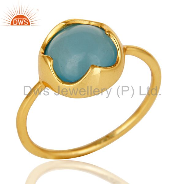 14K Yellow Gold Plated Sterling Silver Aqua Blue Chalcedony Stack Ring
