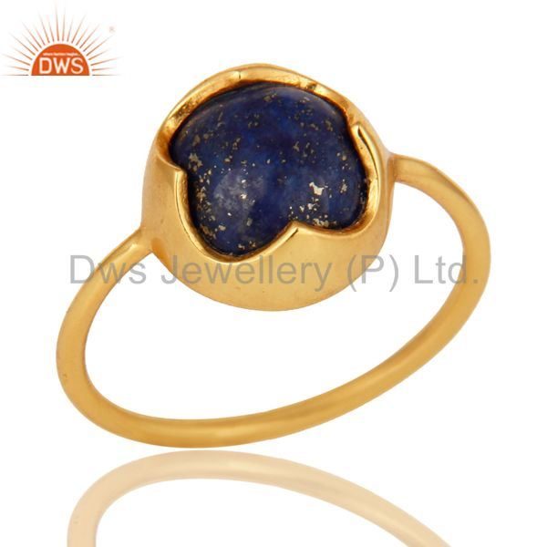 18K Yellow Gold Plated Sterling Silver Natural Lapis Lazuli Stacking Ring