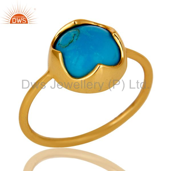 18K Yellow Gold Plated Sterling Silver Turquoise Gemstone Stackable Ring