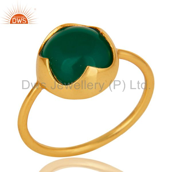Natural Green Onyx Gemstone Sterling Silver Stackable Ring With Gold Plated
