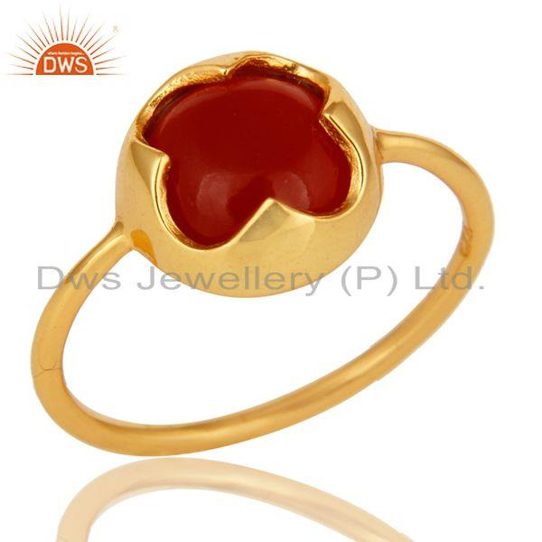 14K Yellow Gold Plated Sterling Silver Red Onyx Designer Stackable Ring