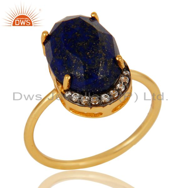 Natural Lapis Lazuli Gemstone Sterling Silver Ring With Yellow Gold Plated