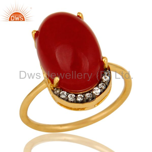 14K Yellow Gold Plated Sterling Silver Red Aventurine Prong Set Ring With CZ