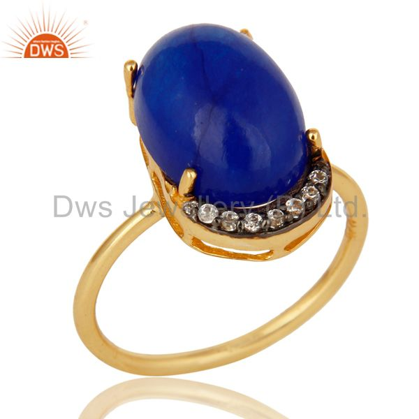 Natural Blue Aventurine 18K Gold Plated Sterling Silver Stacking Ring With CZ