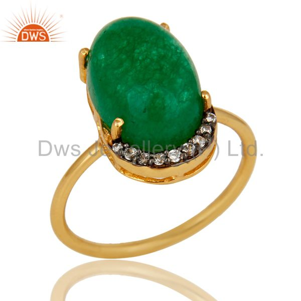 14K Gold Plated Sterling Silver Green Aventurine Party Wear Fashion Ring With CZ