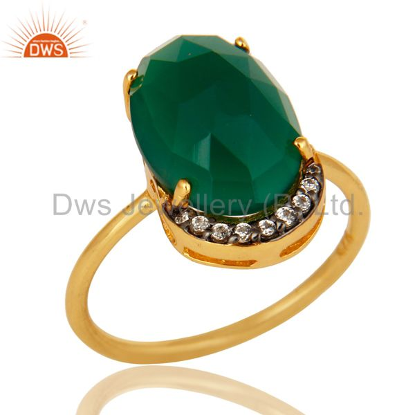 14K Yellow Gold Plated Sterling Silver Prong Set Green Oynx Ring With CZ