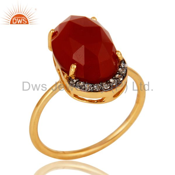 18K Yellow Gold Plated Sterling Silver Red Onyx Stackable Ring With CZ