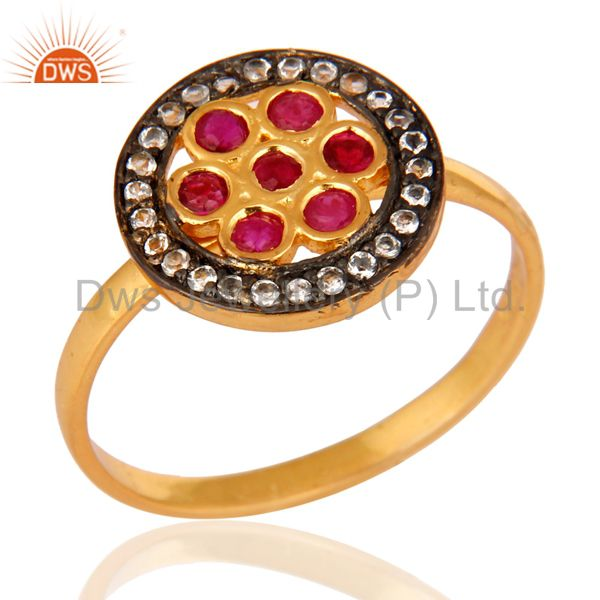 18K Yellow Gold Plated Sterling Silver Genuine Ruby And White Topaz Ring