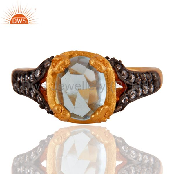 24K Yellow Gold Plated Blue Topaz Gemstone Ring With White Cubic Zirconia