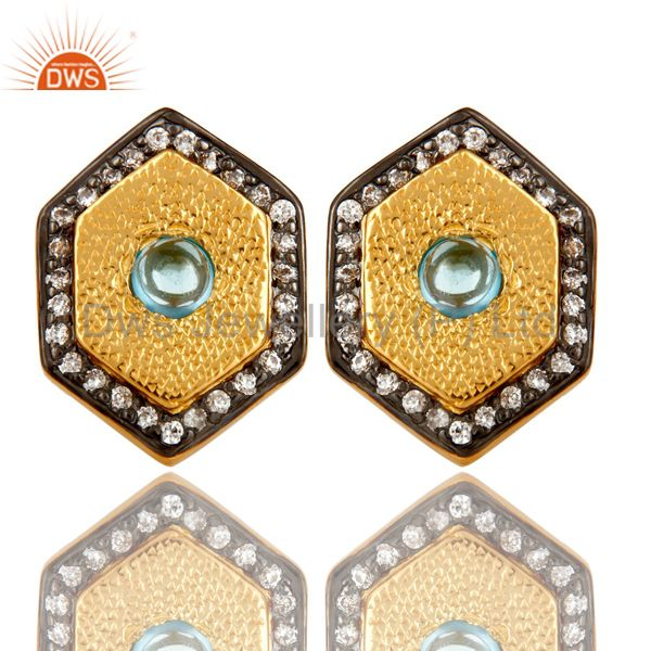 14K Yellow Gold Plated Sterling Silver Blue Topaz And CZ Womens Stud Earrings