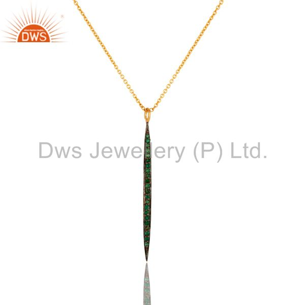 14K Yellow Gold Plated Handmade Round Cut Emerald Chain Brass Necklace Jewelry