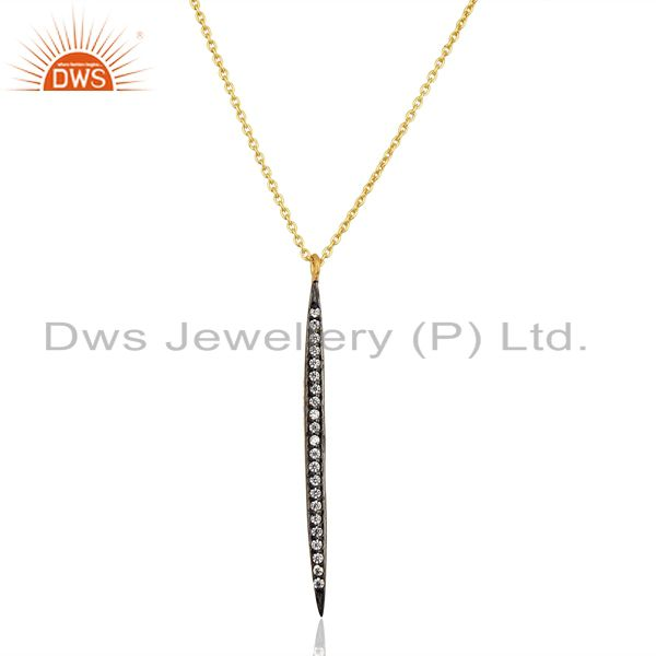 CZ 14K Yellow Gold Plated Brass Chain Pendant Necklace Jewelry