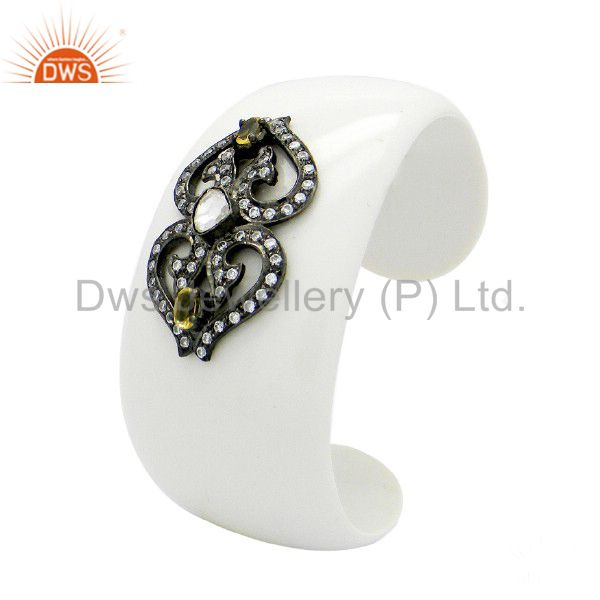 925 Silver Citrine And Cubic Zirconia White Bakelite Vintage Style Cuff Bracelet