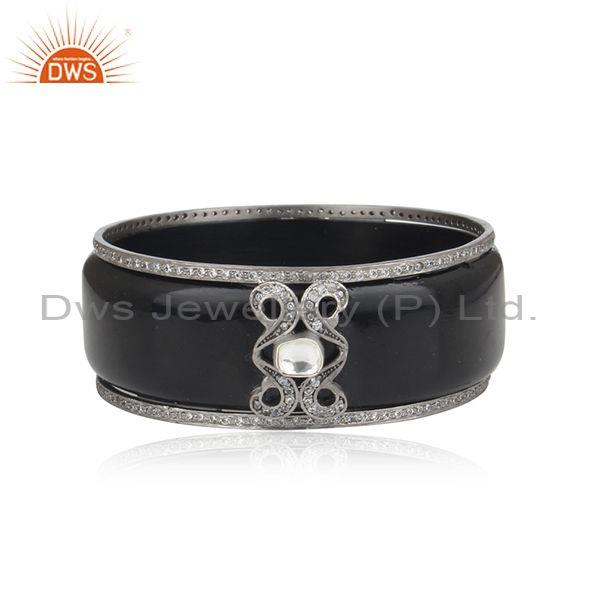 Oxidized Sterling Silver CZ Crystal Polki Vintage Style Black Bakelite Bangle