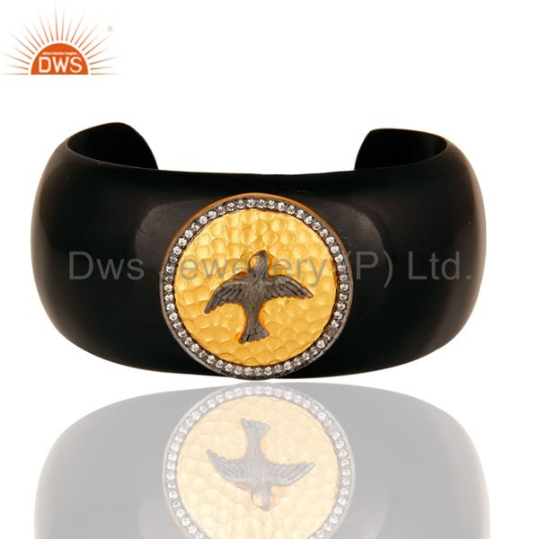 Gold Plated Sterling Silver CZ-Studded Ladies Black Bakelite Cuff Bracelet