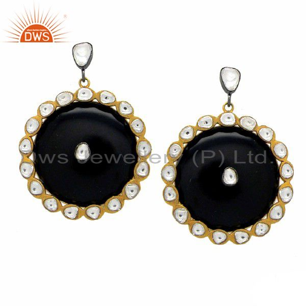 22K Gold Plated Sterling Silver CZ Crystal Polki And Bakelite Dangle Earrings