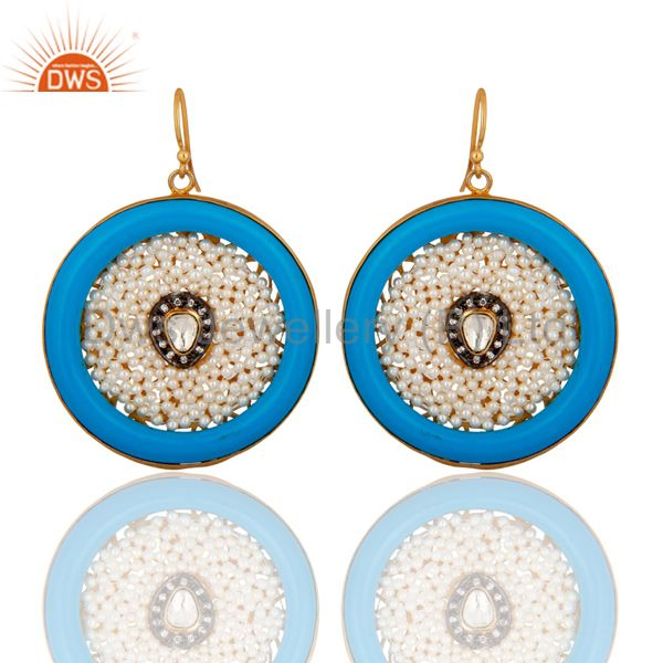 Hot Trend Celebrity Style Blue Bakelite Natural Pearl Designer Fashion Earrings