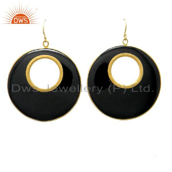 24K Yellow Gold Plated Sterling Silver Black Bakelite Designer Dangle Earrings