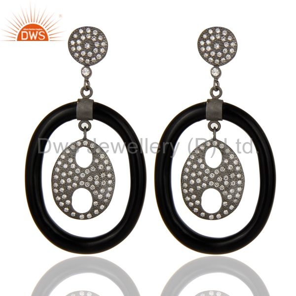 Handmade 925 Sterling Silver White Zircon Bakelite Designer Dangle Earrings