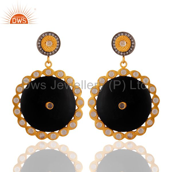 18-Kt. Gold Plated Cubic Zirconia Black Bakelite Handmade Women Fashion Earrings