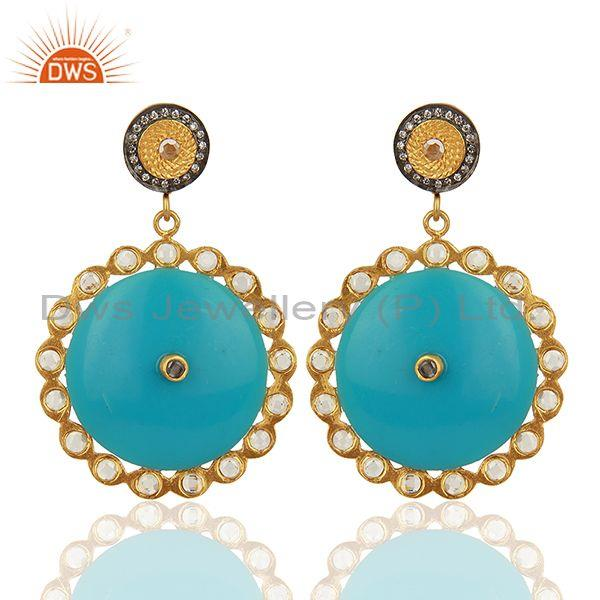 18k Yellow Gold Plated White Cubic Zirconia Pave Bakelite Fashion Earrings