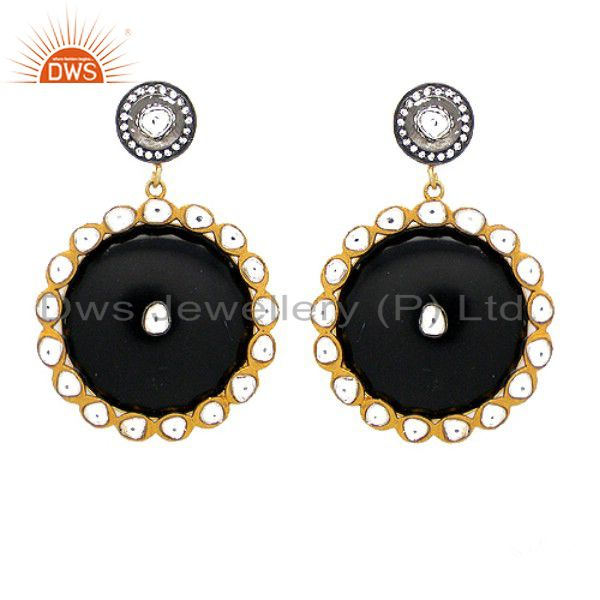 22K Yellow Gold Plated Sterling Silver Bakelite And CZ Polki Dangle Earrings