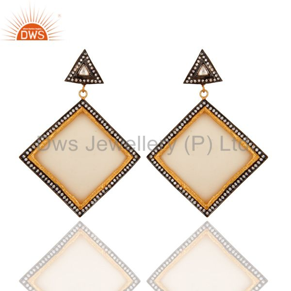 925 Sterling Silver White Cubic Zirconia Vintage Look Bakelite Fashion Earrings