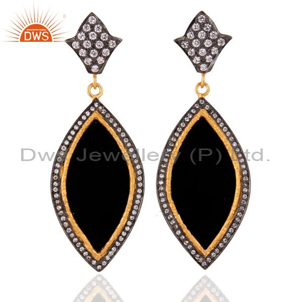 18K Gold Plated Cubic Zirconia & Black Bakelite Designer Dangle Earrings