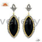 18K Yellow Gold Plated Brass Bakelite Fashion Dangle Earrings With White Zircon