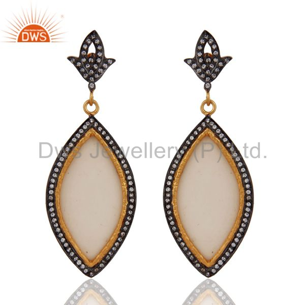 18kt Gold Plated Marquise Shape white Bakelite & cz Vintage Look Dangle Earrings