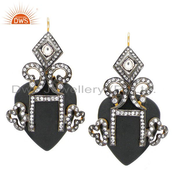18K Gold Plated Sterling Silver Cubic Zirconia And Agate Antique Style Earrings