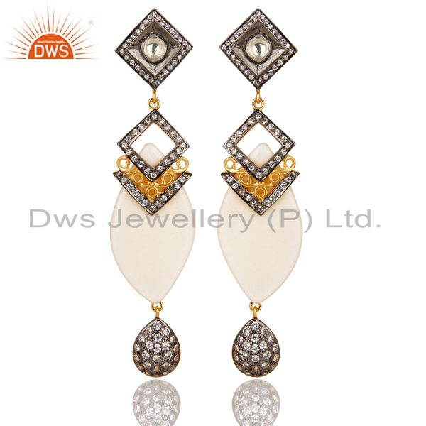 14K Gold Plated Sterling Silver Crystal Quartz & CZ Polki Victorian Earrings