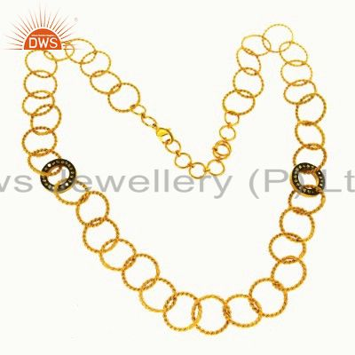 24K Gold Plated Sterling Silver Hammered Circle Link Chain Necklace With CZ