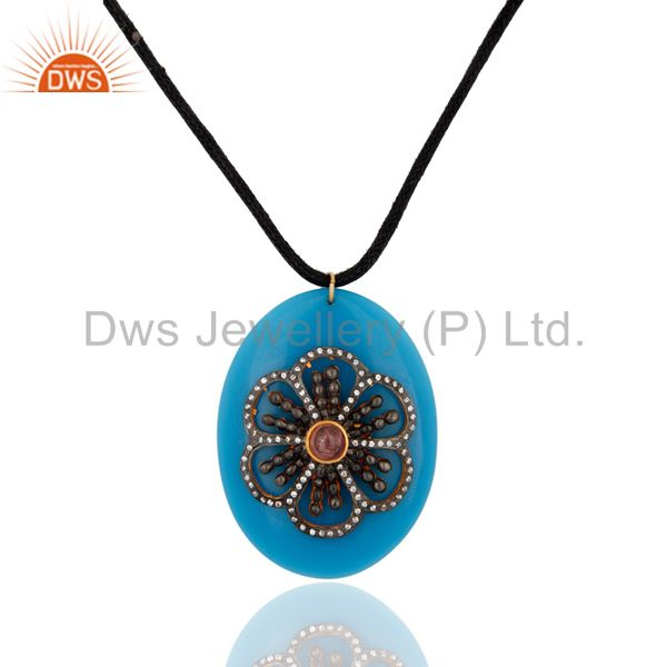 Blue Bakelite And Tourmaline Gemstone CZ Fashion Pendant With Black Cord Necklac