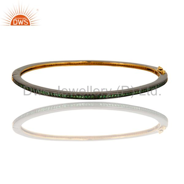 Pave green garnet tsavorite 14k solid yellow gold sleek bangle