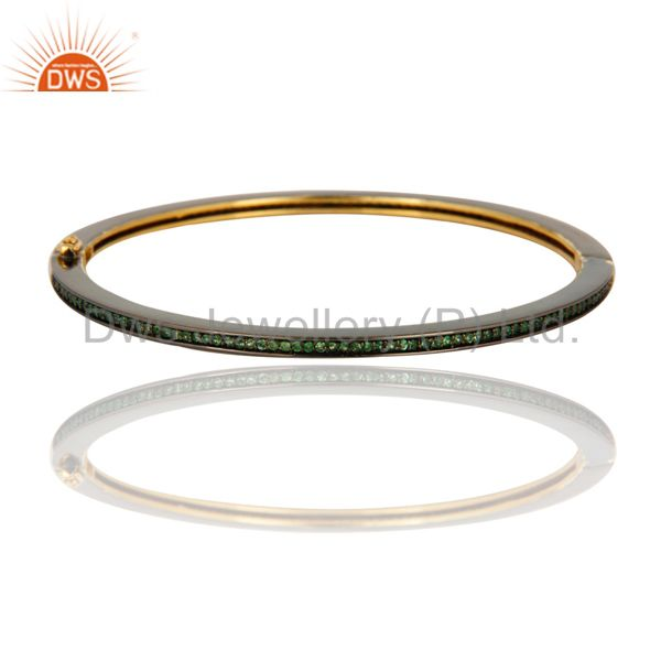 Solid 14K Yellow Gold Tsavorite Silver Party Wear Pave Woman Bangle Jewelry