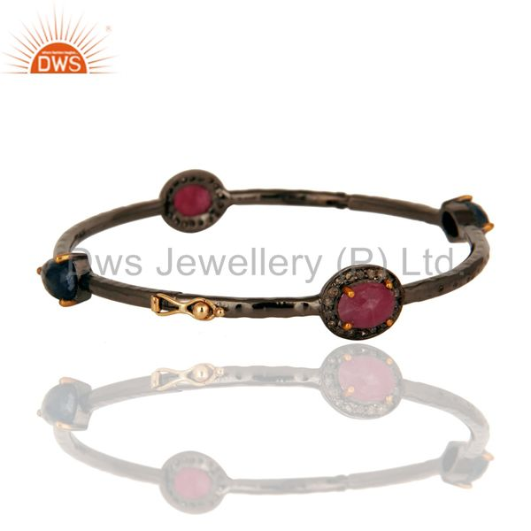 Solid 14K Yellow Gold Ruby And Blue Sapphire Gemstone Bangle With Pave Set Diamo