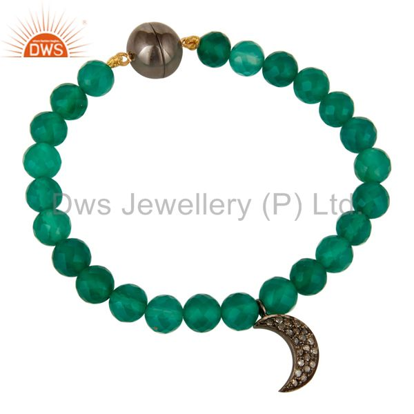 14K Gold Diamond Half Moon Charm Green Onyx Beads Bracelet With Magnetic Clasp