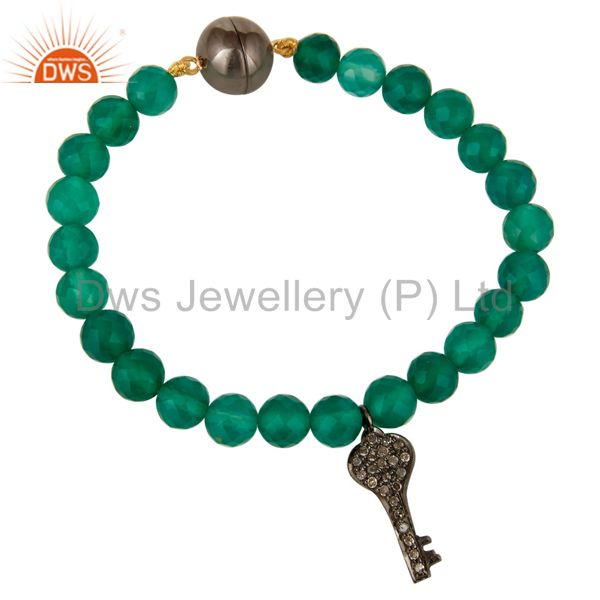 14K Gold Pave Diamond Key Charms Faceted Green Onyx Beads Bracelet Jewelry