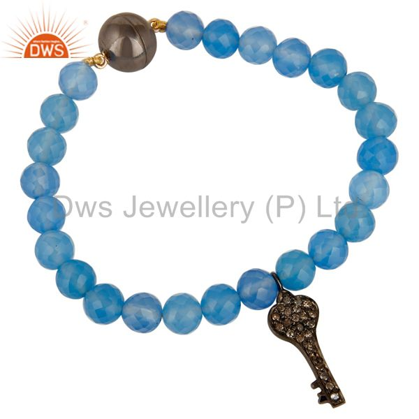 Solid 14K Yellow Gold Blue Chalcedony Bracelet With Pave Diamond Key Charm