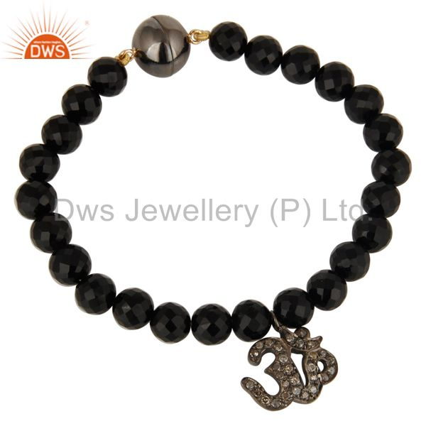 925 Silver Pave Set Diamond Om Charms Black Onyx Bracelet With Magnetic Lock