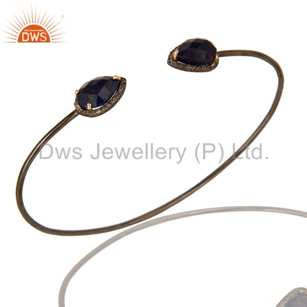 14K Solid Yellow Gold Blue Sapphire And Pave Diamond Stackable Open Bangle
