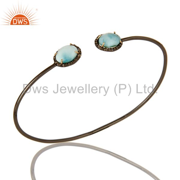 Larimar Gemstone And Pave Set Diamond Bangle Made In 14K Gold And Silver